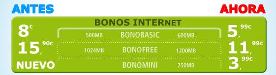 Nuevos bonos de internet móvil y mejoras