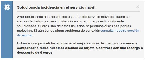 Incidencia del servicio móvil