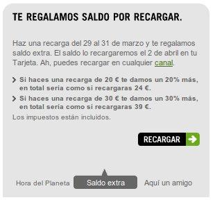 Saldo extra gratis Yoigo, 31 Marzo 2012