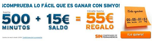 500 minutos en llamadas gratis y 15 euros de saldo
