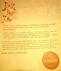 Agradecimiento de Euskaltel