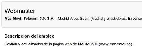 Imagen del anuncio de búsqueda de webmaster para la web de MÁSmovil