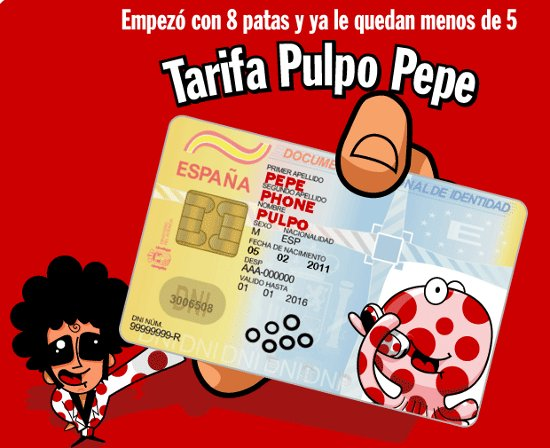 Tarifa Pulpo Pepe de Pepephone