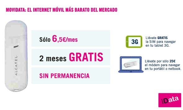 movidata tarifa internet móvil datos gratis