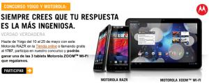Yoigo concurso para conseguir tablets gratis comprando online el Motorola RAZR