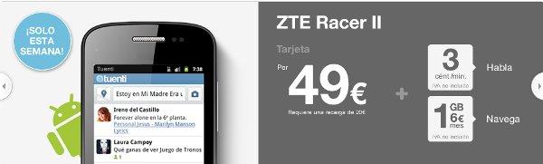 ZTE Racer 2 Tuenti Móvil 49 euros, android más barato