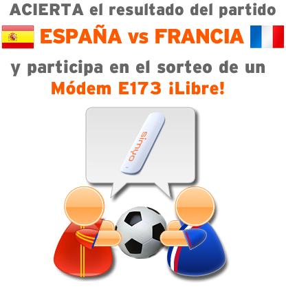 Hoy porra de la Eurocopa España Francia, sorteo módem USB gratis Simyo