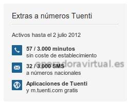 Contador de los extras, minutos, SMS del área de cliente de Tuenti Móvil