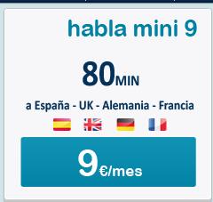 Happy Móvil, tarifa de llamadas Europa Habla Mini 9