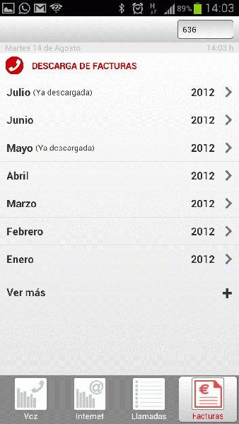 Pantallazo de la app de facturas de Pepephone