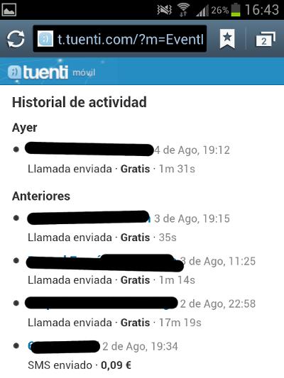 Historial de actividad, llamadas realizadas, etc... de Tuenti Móvil
