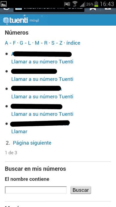 Mis números de Tuenti Móvil en la App y llamarles