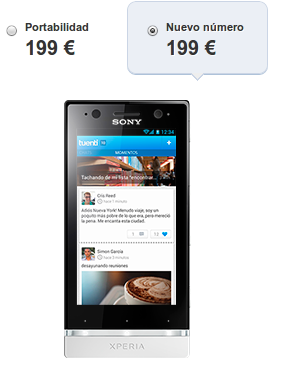 Tuenti Móvil Sony Ericsson Xperia U Blanco