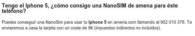 Amena nanoSIM para el iPhone5