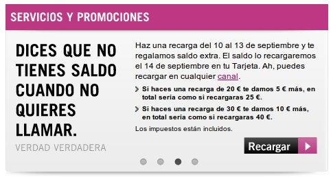 Recargas extra gratis Yoigo septiembre del 2012