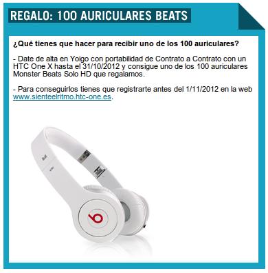 Regalo 100 pares de auriculares beats con Yoigo y HTC One X