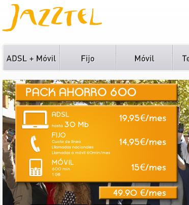 Jazztel, pack ahorro fusión