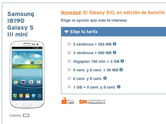 Samsung Galaxy S3 mini con Simyo