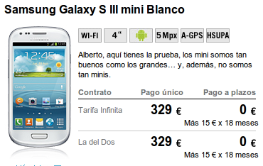 Samsung Galaxy S3 Mini de Yoigo