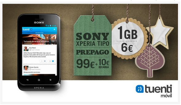 Sony Xperia Tipo prepago de 99 euros