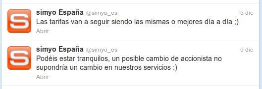 Tweet, Orange quiere comprar Simyo
