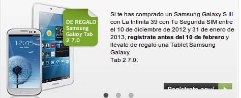 Galaxy Tab 2, de 7 pulgadas gratis con Yoigo