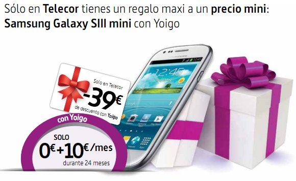Samsung Galaxy S3 Mini con Yoigo en Telecor