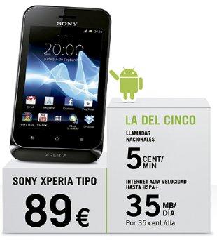 Imagen del Sony Xperia Tipo con Yoigo, smartphone barato