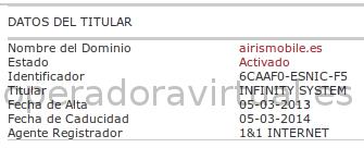 Whois dominio airismobile.es