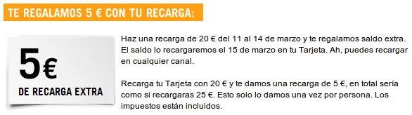 Recarga extra gratis de 5 euros con Yoigo