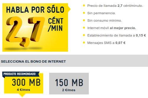 Tarifa Líder de MÁSmovil, bono de internet desde 2 euros