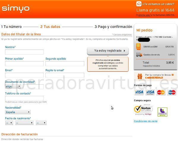 Introducir datos personales en Simyo