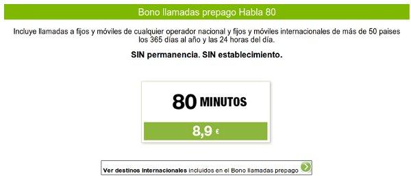 Bono llamadas internacionales de Hits Mobile