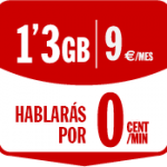 1.3 gigas por 9 euros y llamadas a 0 céntimos/minuto con Pepephone