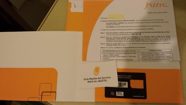 Tarjeta SIM y sobre de Jazztel