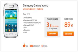 Samsung Galaxy Young rebajado en Simyo