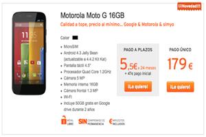 El Moto G de 16GB ya llego en Simyo