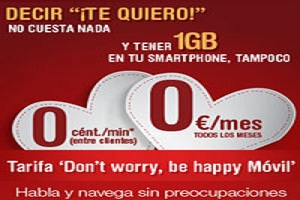 """Don´t worry be happy movil"", la tarifa para enamorados de Happy Móvil"