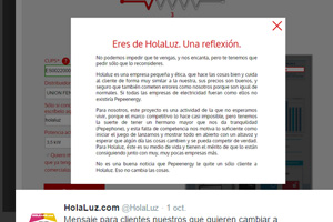 Sorprendente mensaje de Pepeenergy a los usuarios de Holaluz