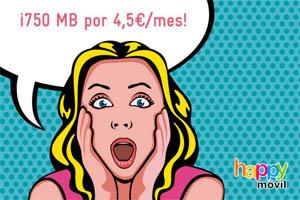 """Happy Móvil y su oferta """"básica"""" sin precedentes: 750 MB para navegar por sólo 4,5 céntimos al mes"""