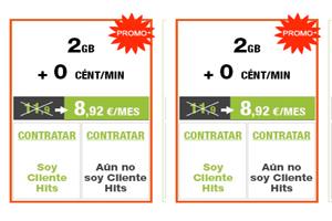 Llamadas a 0 céntimos y 2 Gb para datos con el 25% de descuento en Hitsmobile