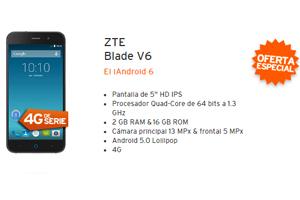 ZTE Blade V6 en liquidación con Simyo