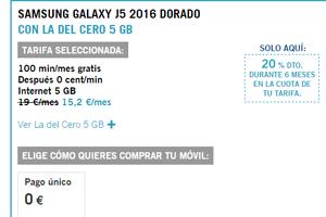 Contrata la Tarifa del Cero 5 Gb con Yoigo y llévate el Samsung J5 ¡a 0 euros!