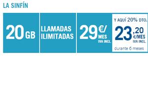 Todavía es tiempo coger la Tarifa Sinfín de Yoigo con 20 GB navegar y 20% de descuento en cuota mensual