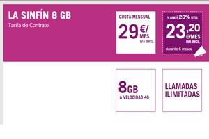 El Sinfín 8 GB de Yoigo sigue ofreciendo el 20% de descuento