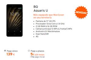 Nuevísimo en la tienda virtual Simyo: El BQ Aquaris U por 5 euros al mes