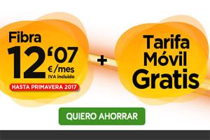 Fibra y tarifa móvil por 12,07 euros al mes en Jazztel