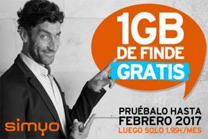 Lunes de notición en Simyo: Bono Finde de 1 GB ¡gratis hasta el próximo año!