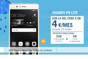 El Huawei P9 Lite a sólo 4 euros por mes con la del Cero 5GB