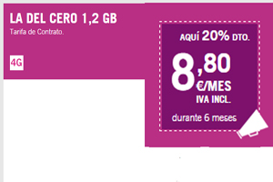 Hazte con la Del Cero 1,2 GB de Yoigo a sólo 8,80 mensual por promo especial